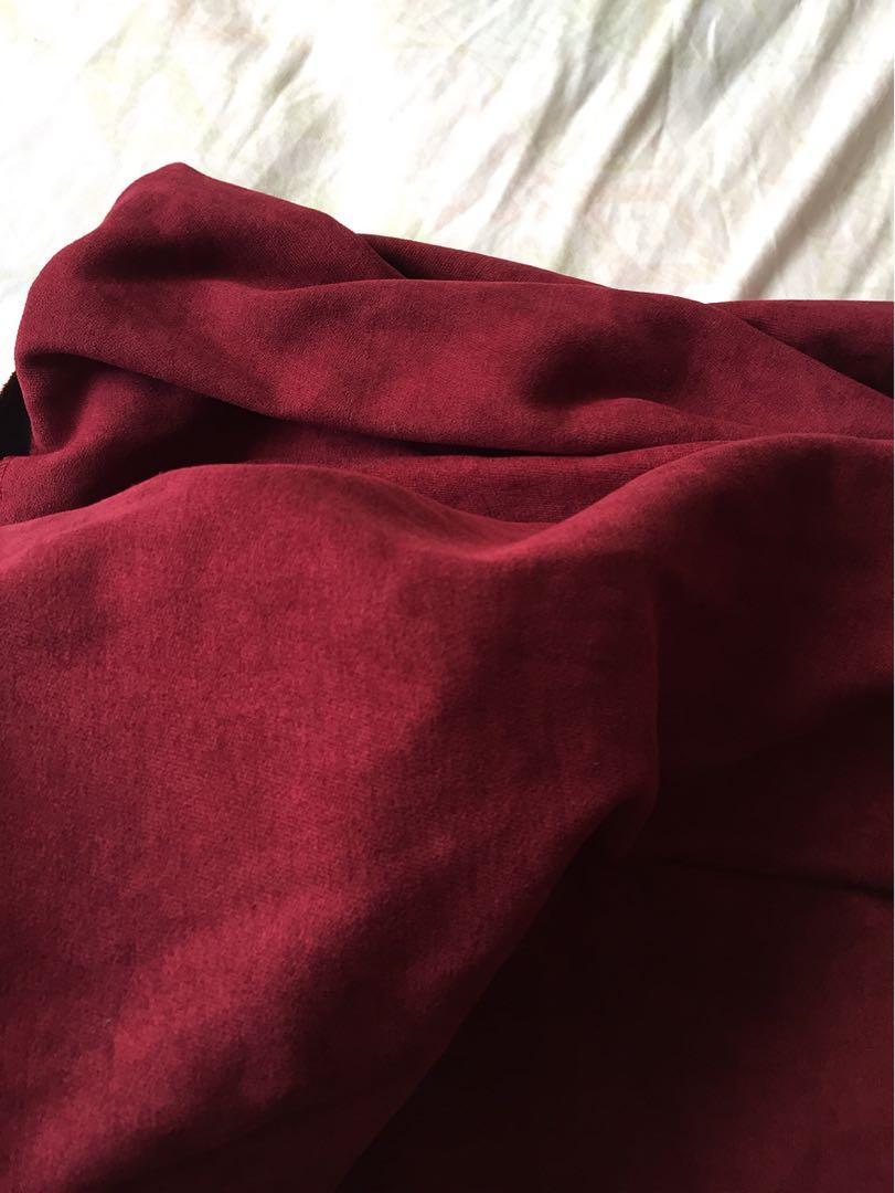 氣質酒紅中長傘裙