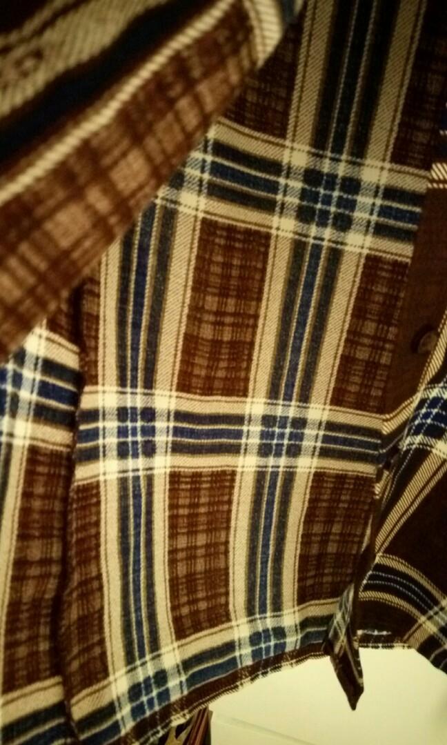 涼感格紋長袖襯衫