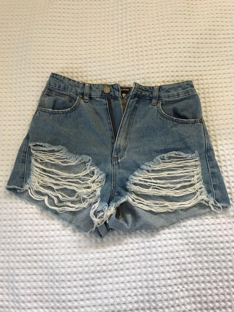 Abrand high waisted distressed shorts size 8