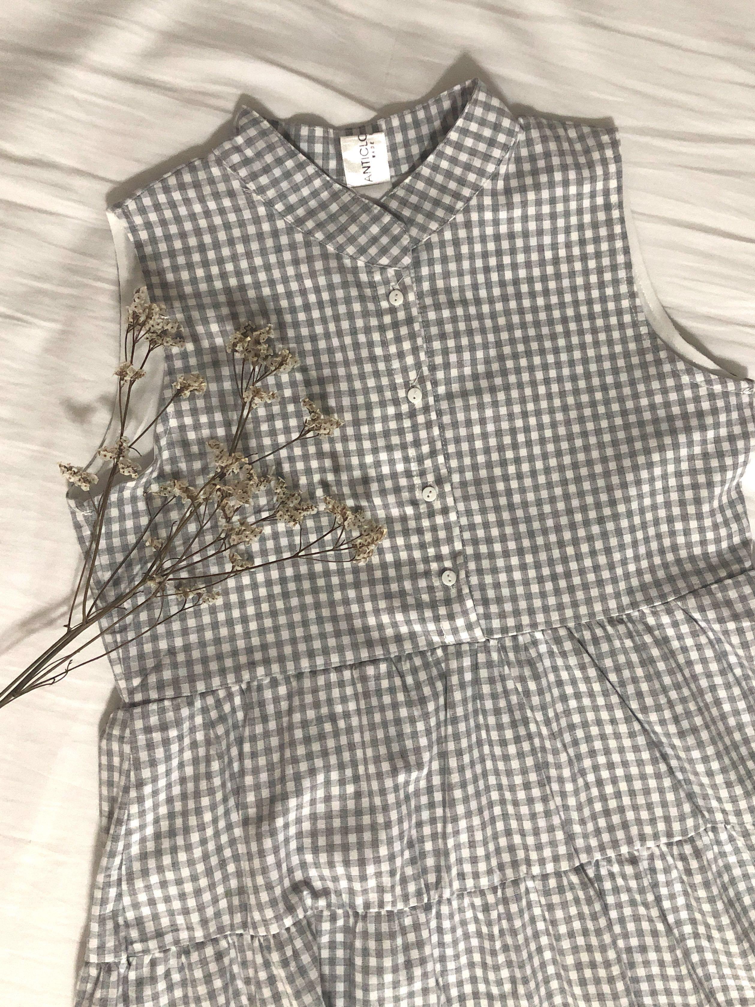 6aae5a6b8e81 ACW Button Down Tiered Babydoll Dress Grey Gingham, Women's Fashion ...