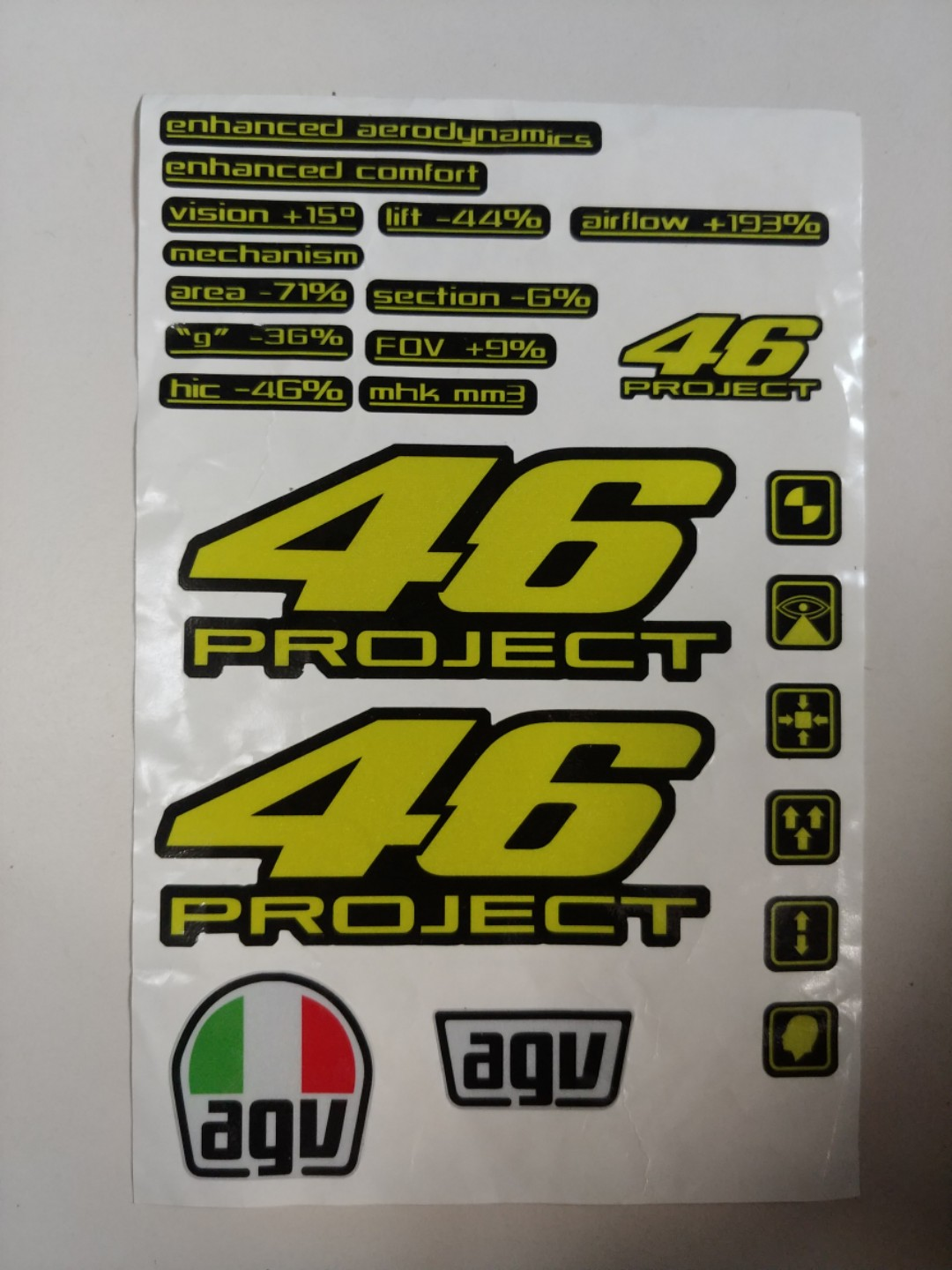 Agv Pista Gp Project 46 1 0 Decals Motorcycles Motorcycle Accessories On Carousell