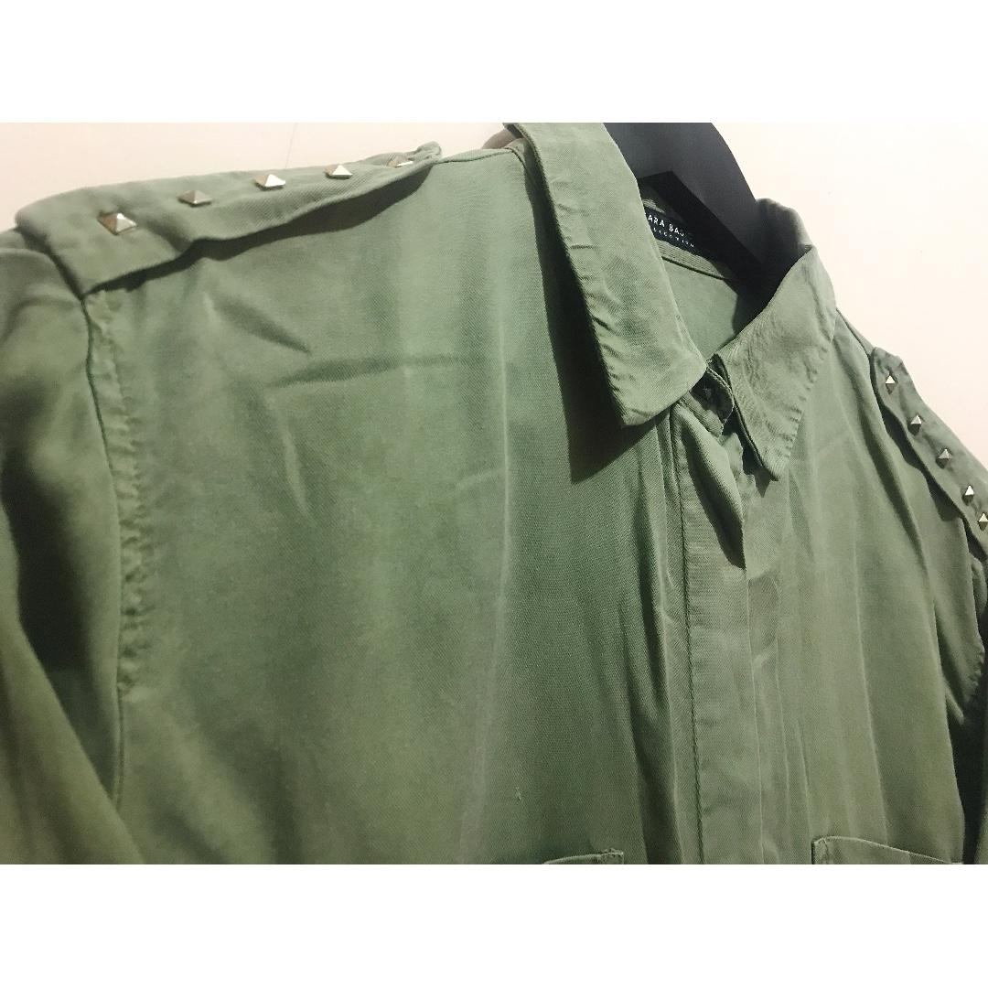 Army Greed Shirt with Studded Details