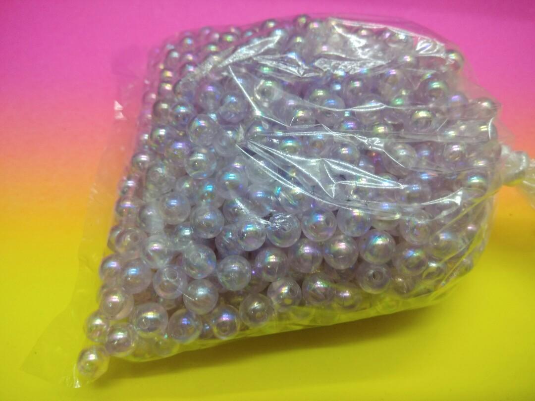Beads plastik ungu pelangi