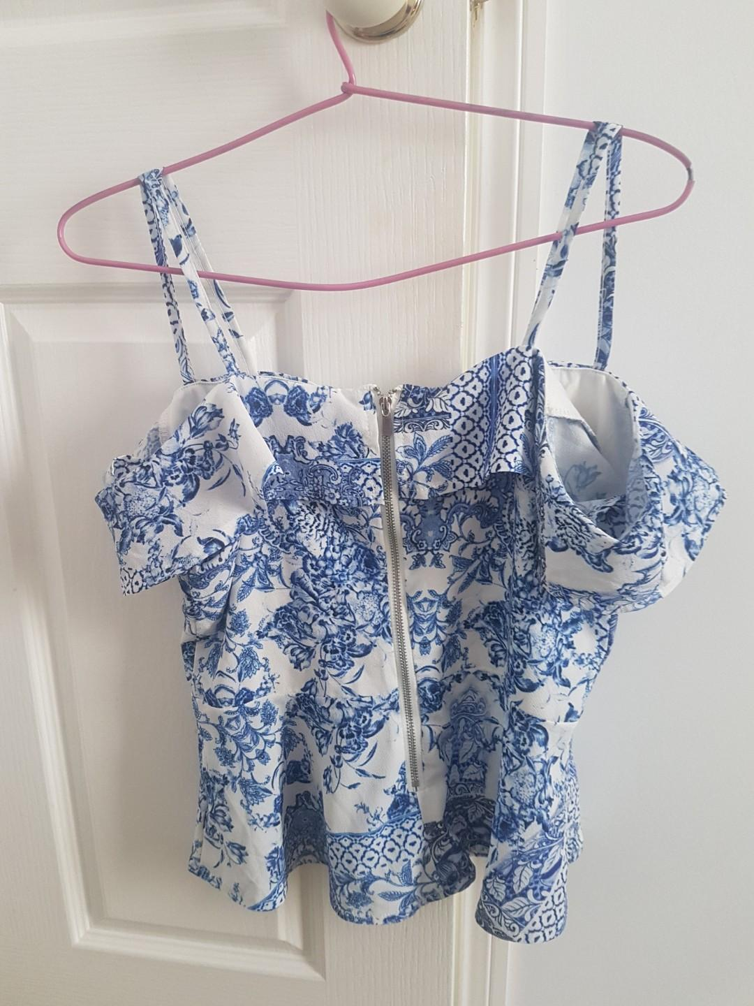 Blue and white double strap off shoulder peplum top