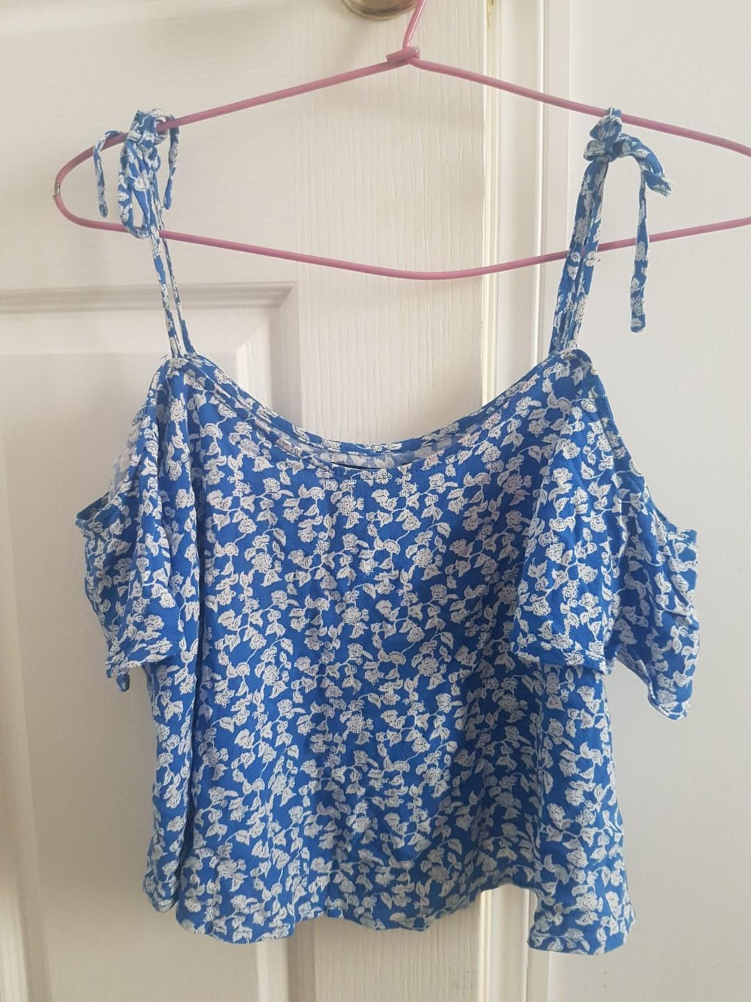 Blue and white flower print off shoulder strap top