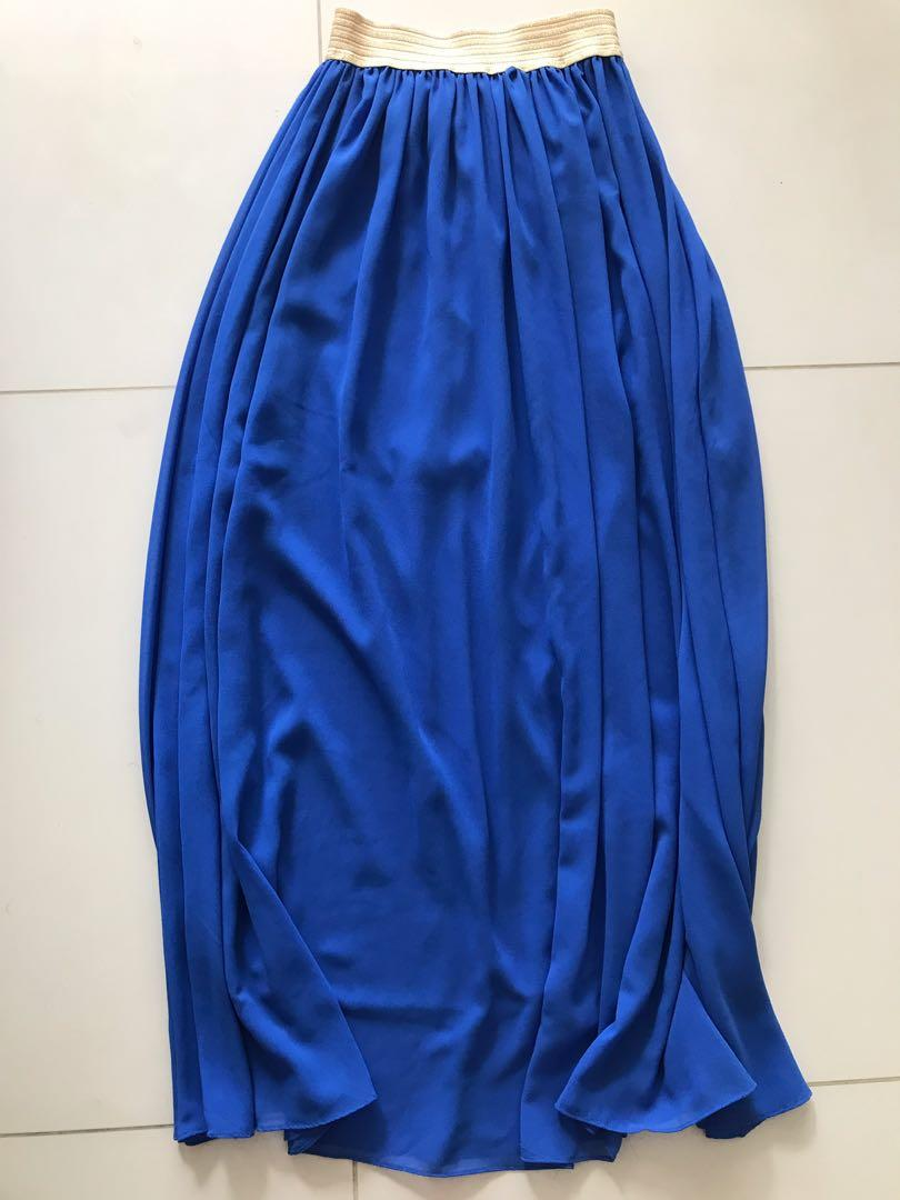 Blue maxi skirt with gold trim