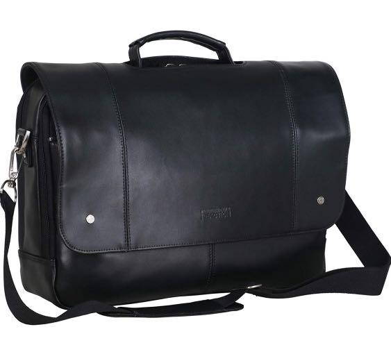 """Brand New Kenneth Cole Reaction Leather Dual Compartment Flapover 16.0"""" Computer Business Crossbody Portfolio Laptop Briefcase"""