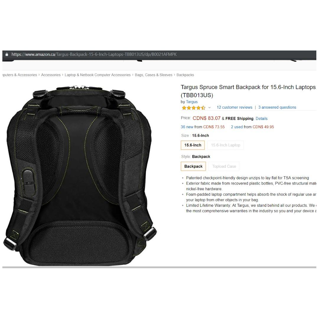 *Brand New* Targus 15.6-Inch Spruce EcoSmart TSA Laptop Backpack