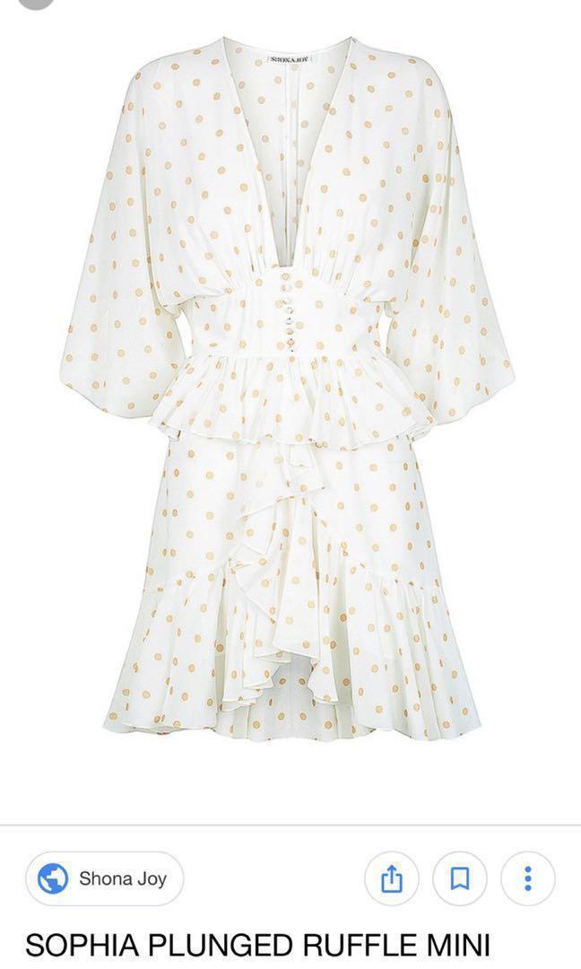 BRAND NEW WITH TAGS Shona joy Sofia plunge ruffle mini dress