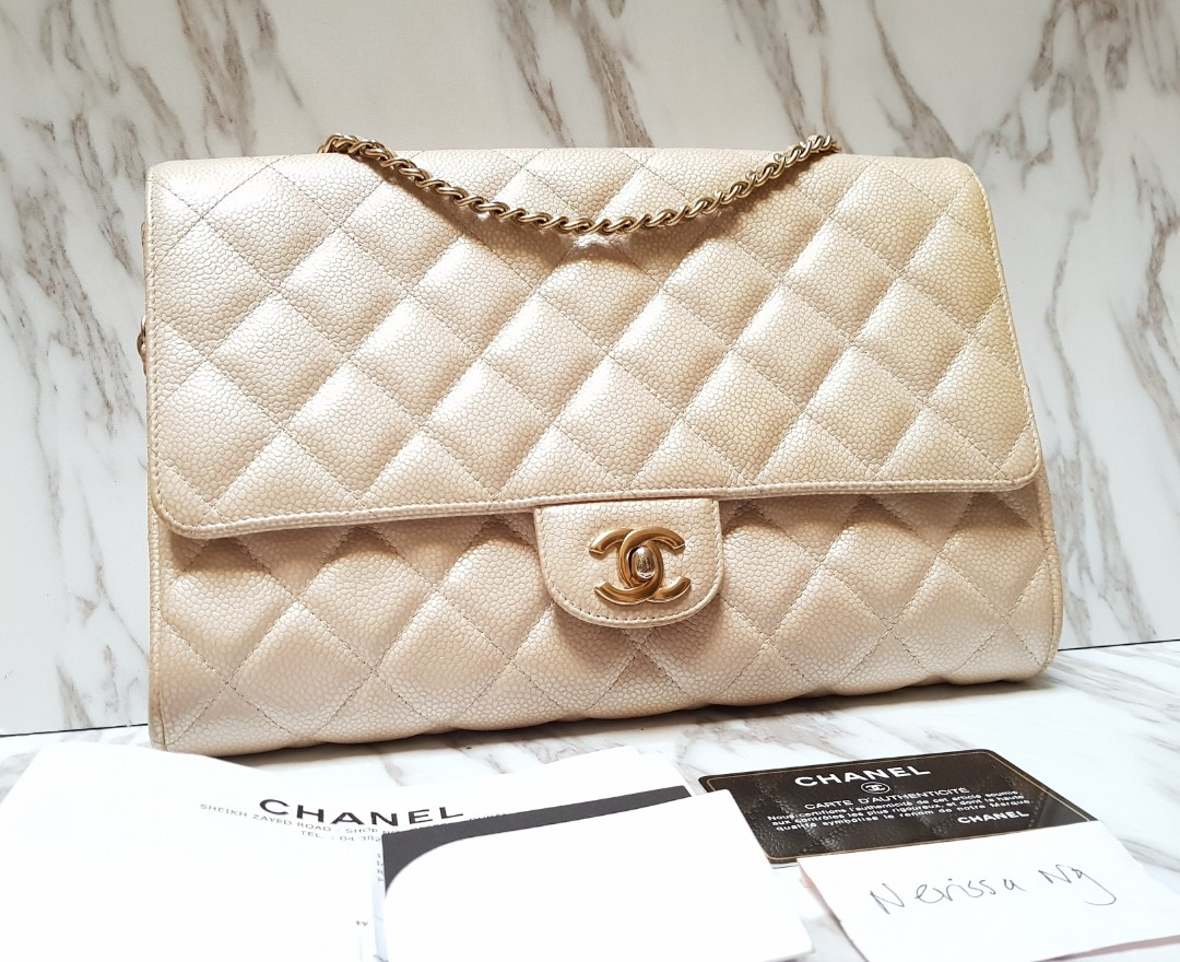 3a0ea79c7f6d CHANEL Champagne Pearl Gold Clutch with Chain Flap Bag, Luxury, Bags ...