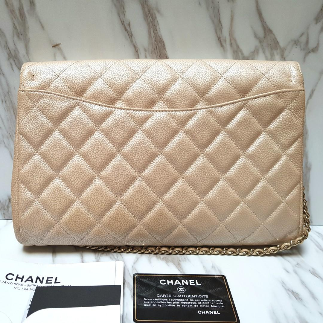 CHANEL Champagne Pearl Gold Clutch with Chain Flap Bag