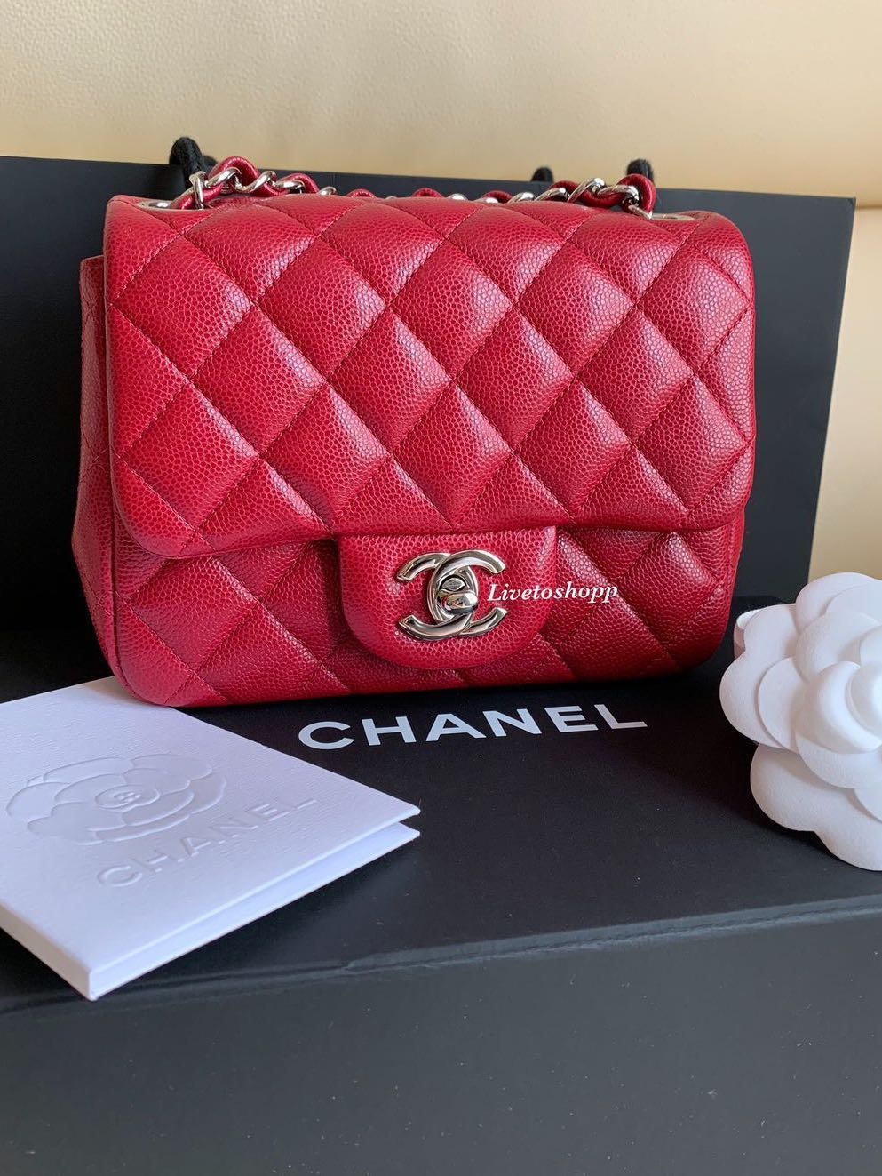 bd38895fccf7e8 Chanel Mini Square Bag Caviar Leather SHW, Luxury, Bags & Wallets, Handbags  on Carousell