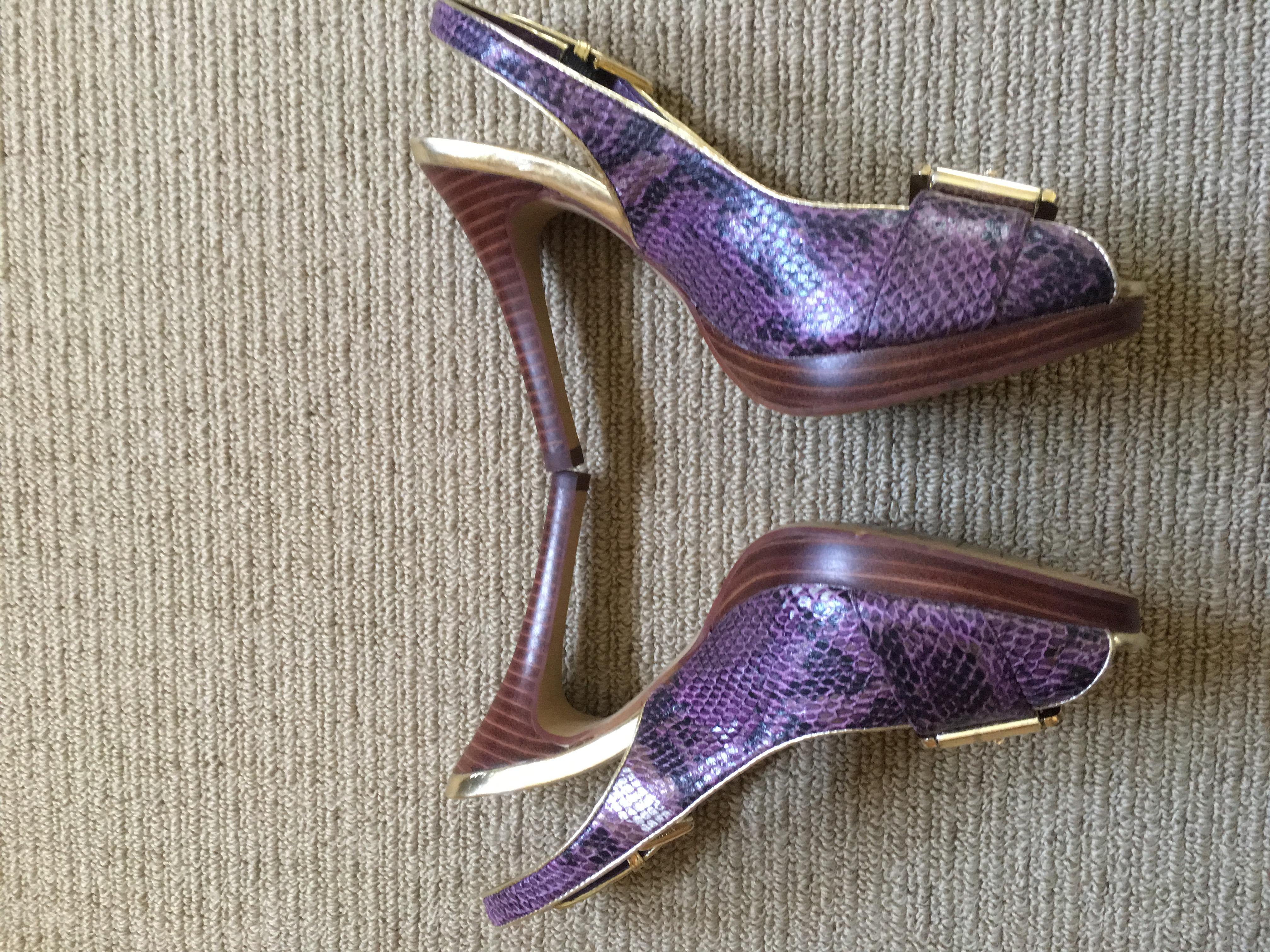 Corelli Collection Purple snake skin look shoes with buckle