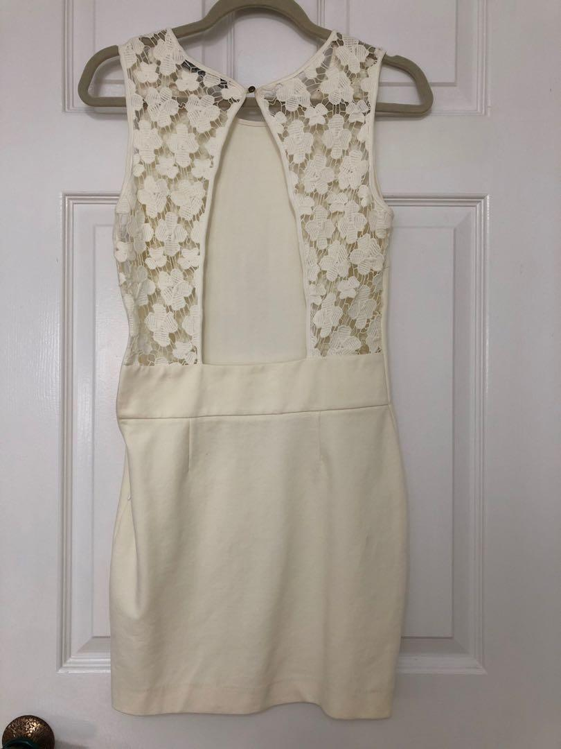 Cream Zara dress with lace and cutout back size small