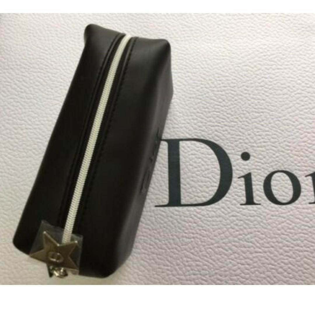 DIOR BLACK SMALL MAKEUP BAG / POUCH Silver Star zipper pull with CD logo. BNIB