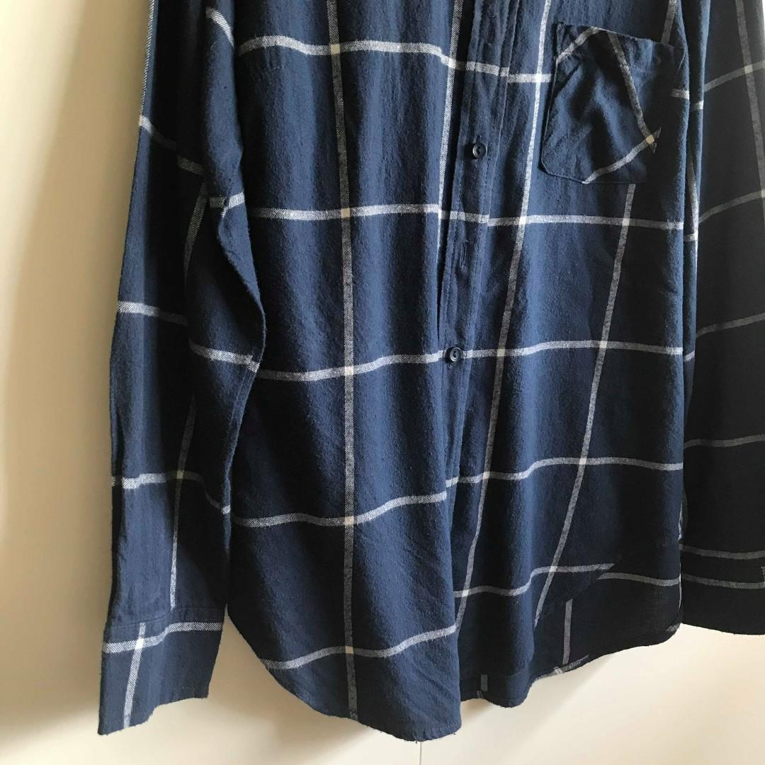 Factorie Blue White Grid Collared Blouse Top (Size S)