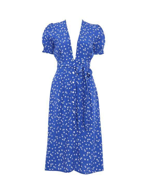 Faithfull Dress Farah Betina Floral in Cobalt Blue