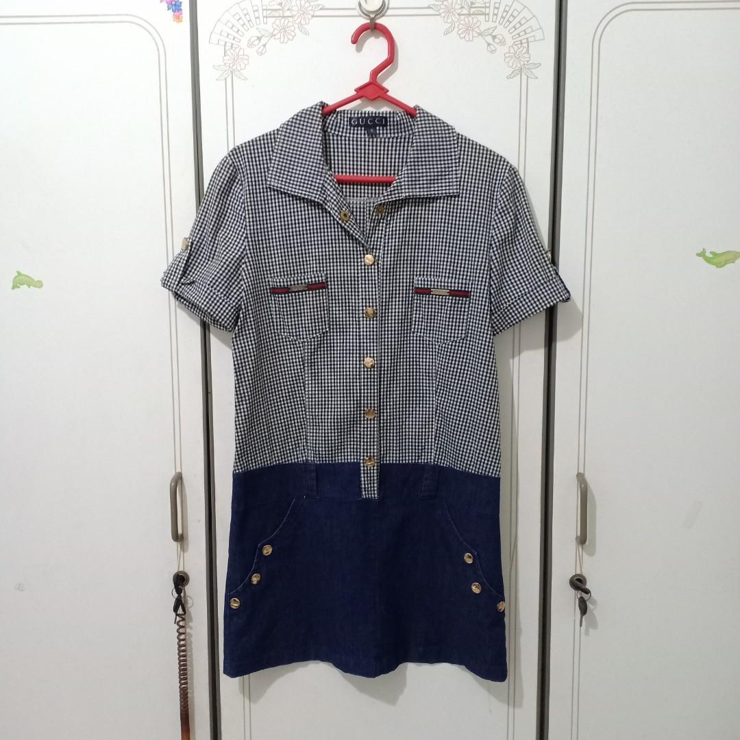 Gucci dress, denim dress, jeans skirt, 2in1 dress, kemeja dress, dress bangkok, kemeja bangkok, kemeja office, dress ootd