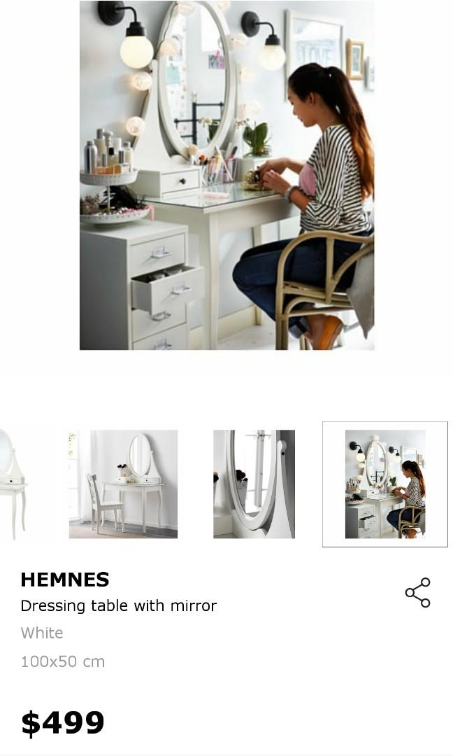 Ikea Hemnes Dresser Dressing Table Vanity Mirror Furniture Tables Chairs On Carousell