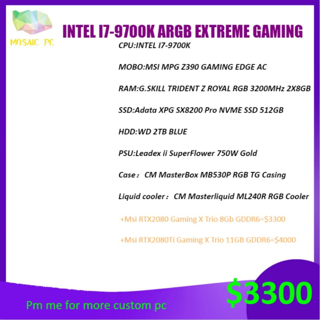 INTEL I7-9700K EXTREME liquid cooling ARGB GAMING DEKSTOP PC