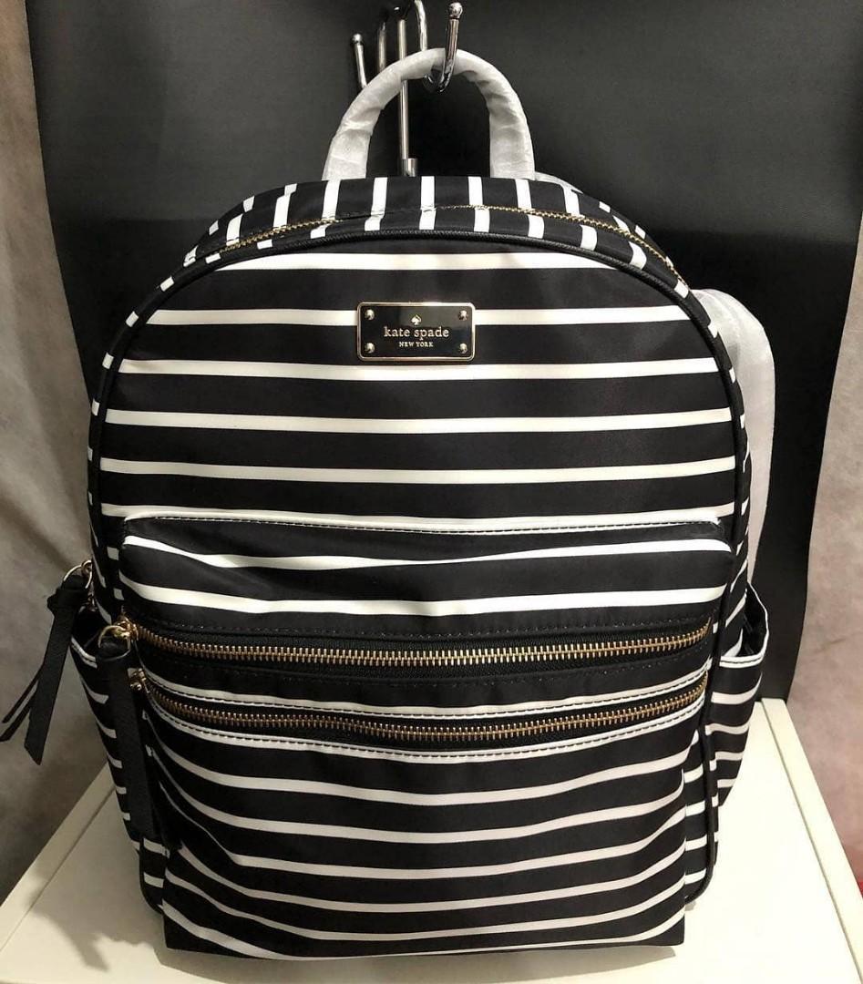 Kate Spade Bradley Backpack Large Black Stripes Multi sz 30x35x11