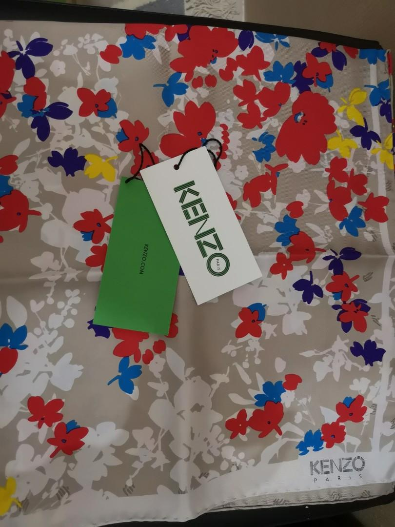 Kenzo taupe floral neck scarf