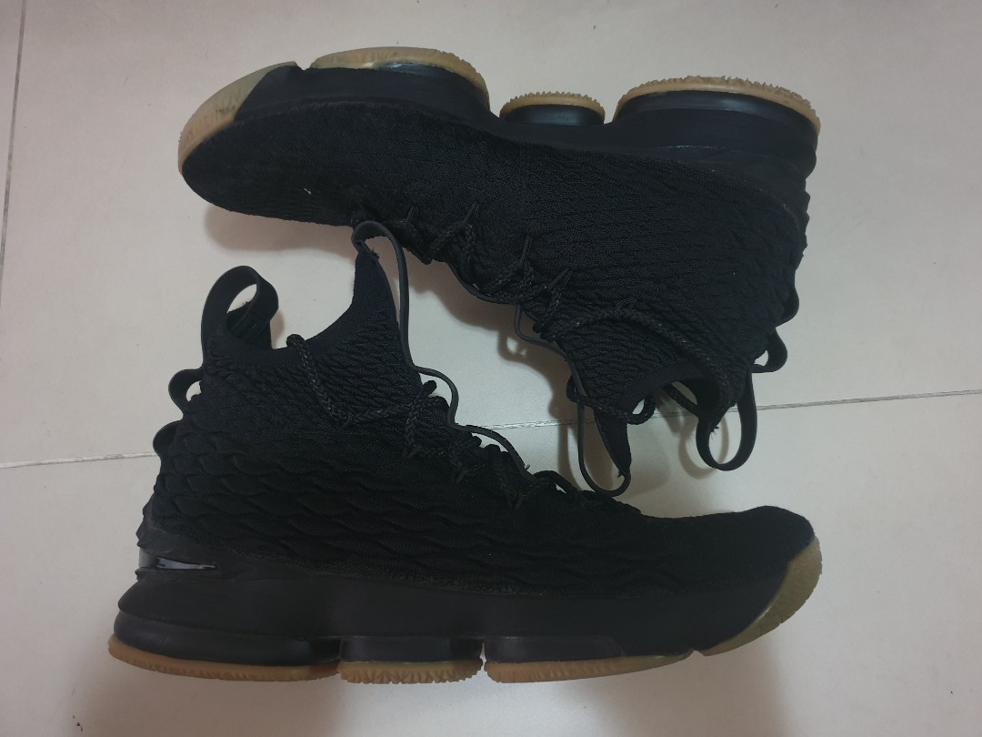 info for df169 81cfb Lebron 15 Triple Black Nike Zoom Air Max Gum sole Authentic Basketball
