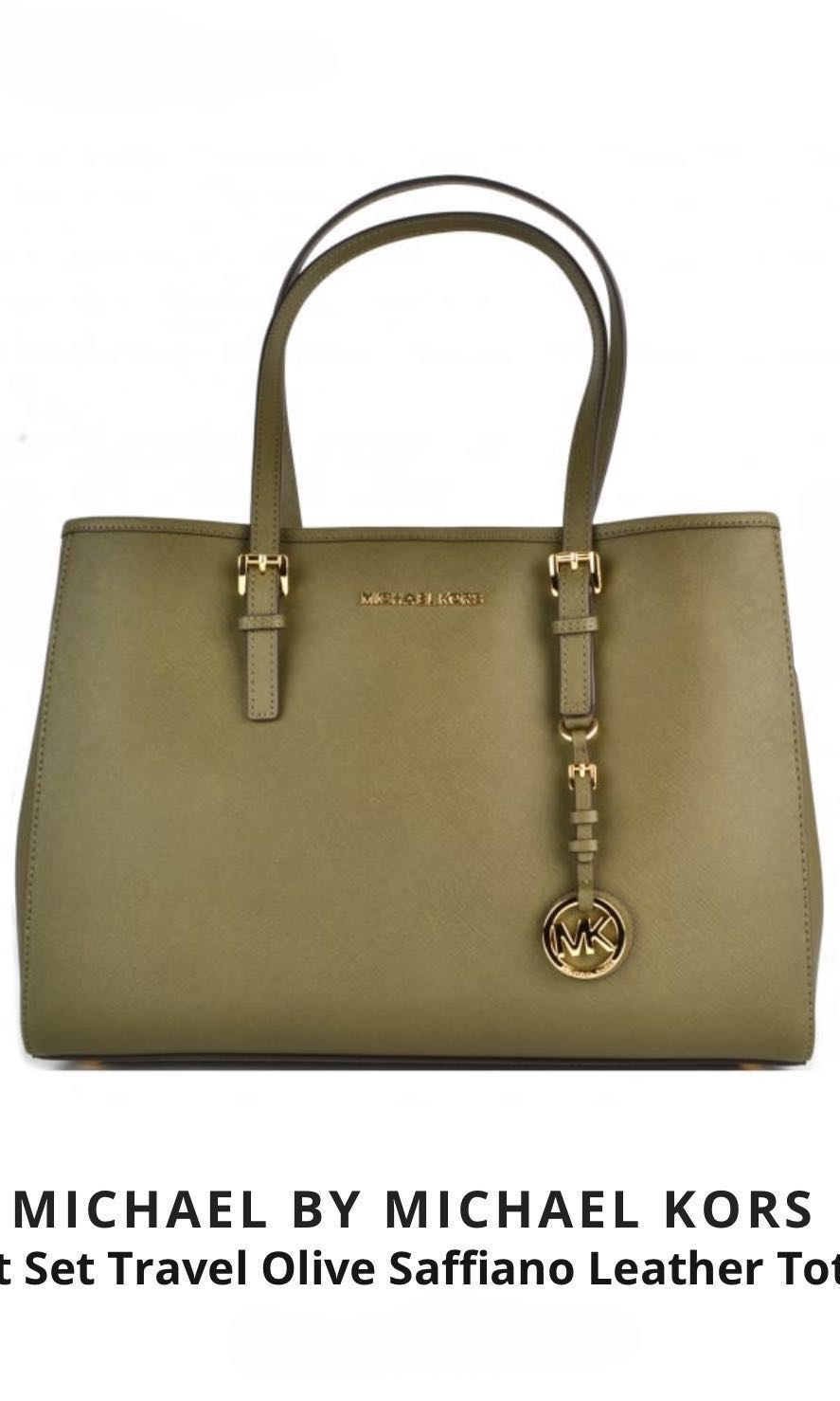 62a1dada7770bf Michael Kors Jet Set Travel Olive Saffiano Leather Tote, Women's ...