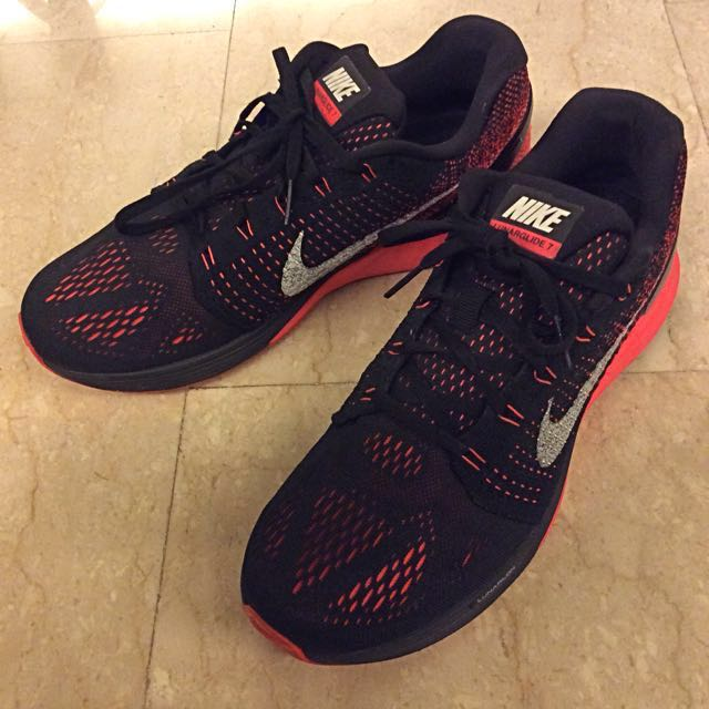 purchase cheap 8777f 5fed3 Nike Lunarglide 7 VII Flyknit Black Red Mens Running Shoes, Men s Fashion,  Footwear on Carousell