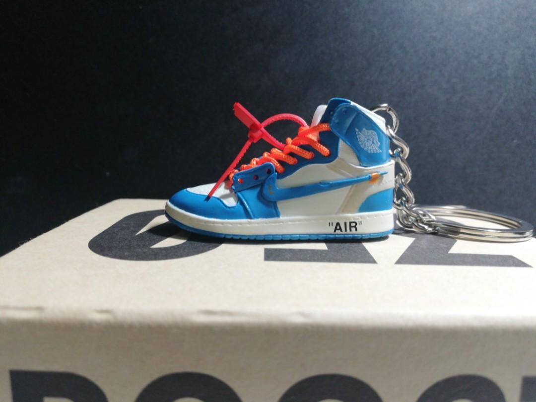 739b06c51f4b9 Off White x Nike Air Jordan UNC Mini Shoe Keychain!, Men's Fashion ...