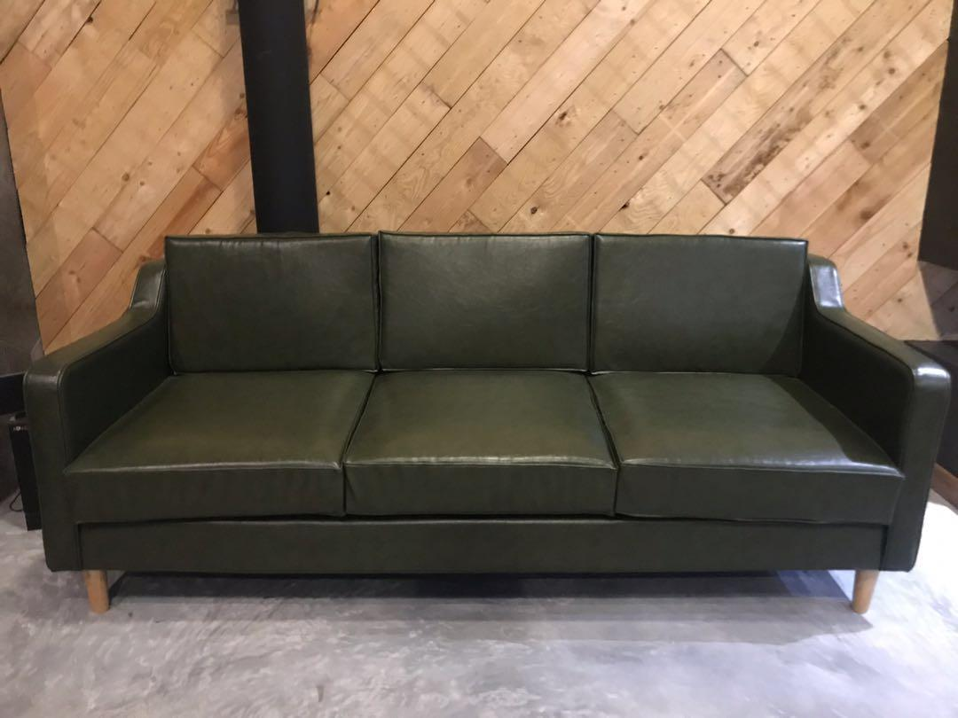 Olive Green Leather Sofa Furniture