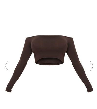PRETTY LITTLE THING (PLT) - BROWN LONGSLEEVE OFF THE SHOULDER TOP
