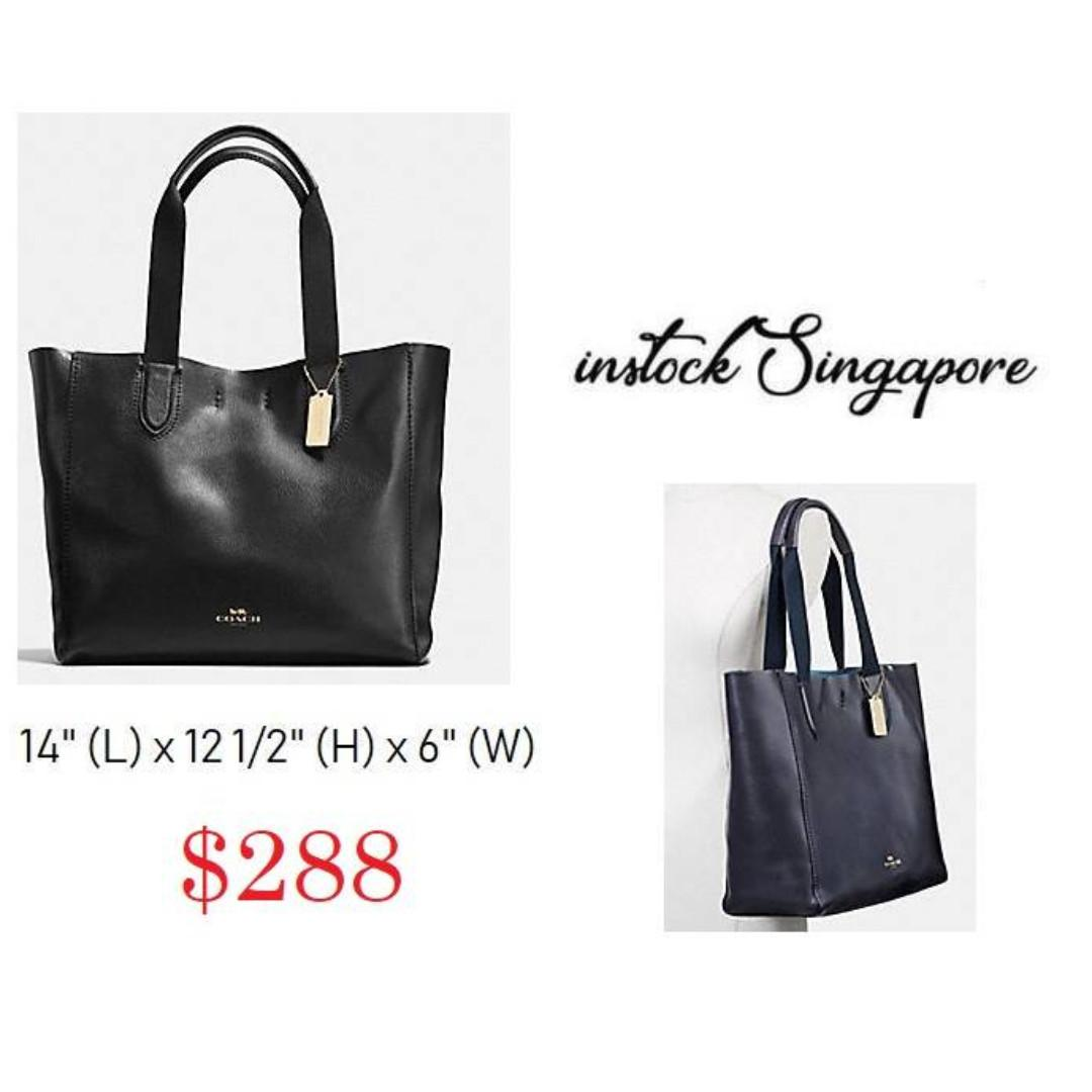 READY STOCK -AUTHENTIC - NEW  Coach LARGE DERBY TOTE IN PEBBLE LEATHER (COACH F59818) harware GOLD/BLACK