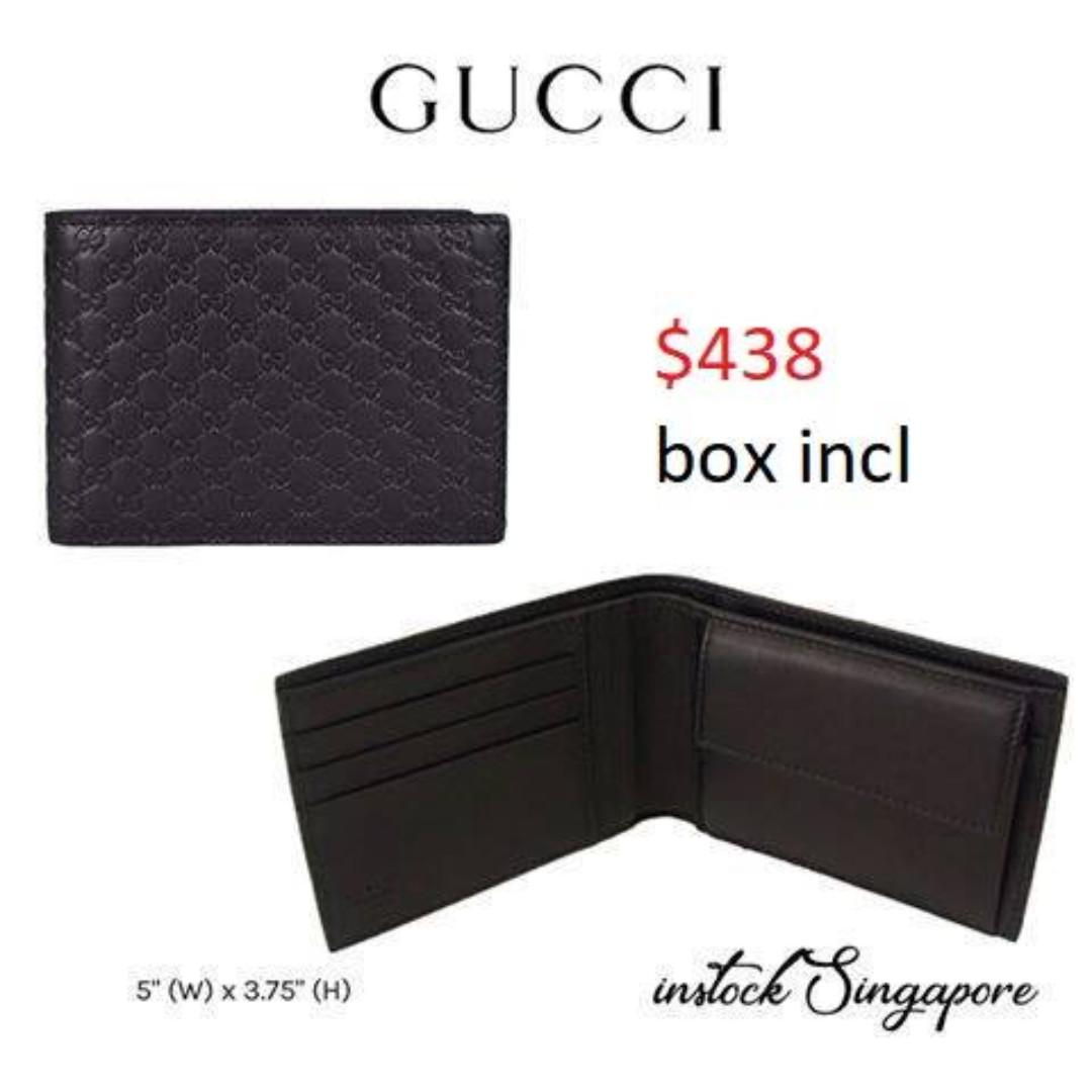 READY STOCK -AUTHENTIC - NEW  Gucci Men's Micro GG Guccissima Large Leather Bifold Wallet (Black/292534 BMJ1N)