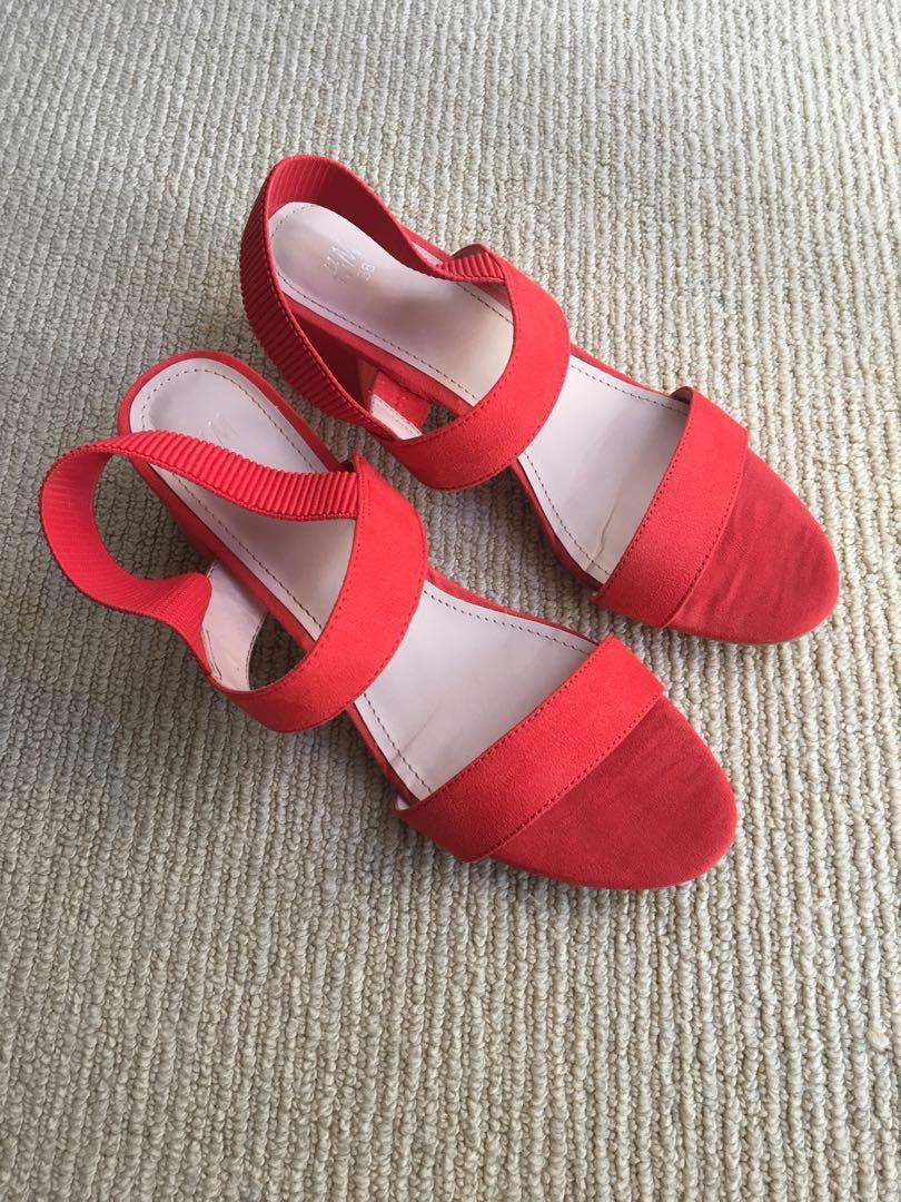 Red suede low heels