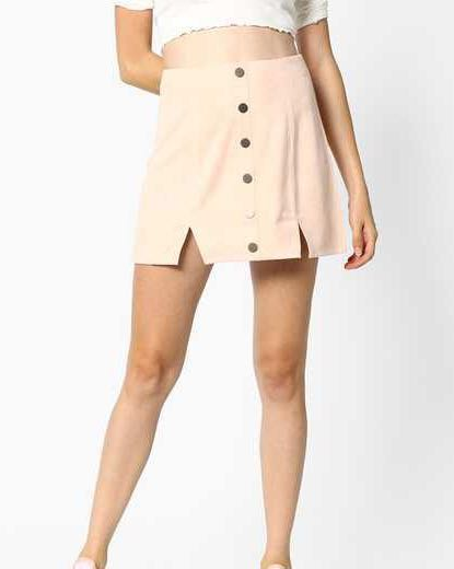 SALE MDS Pale Pink A-Line Skirt with Silver Buttons