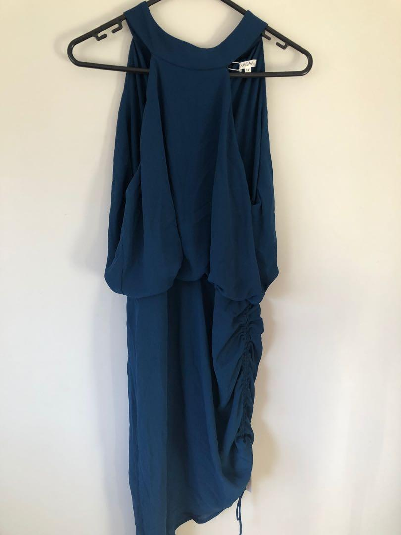 Size 12 Georgina Rouched Teal Dress by Tussah