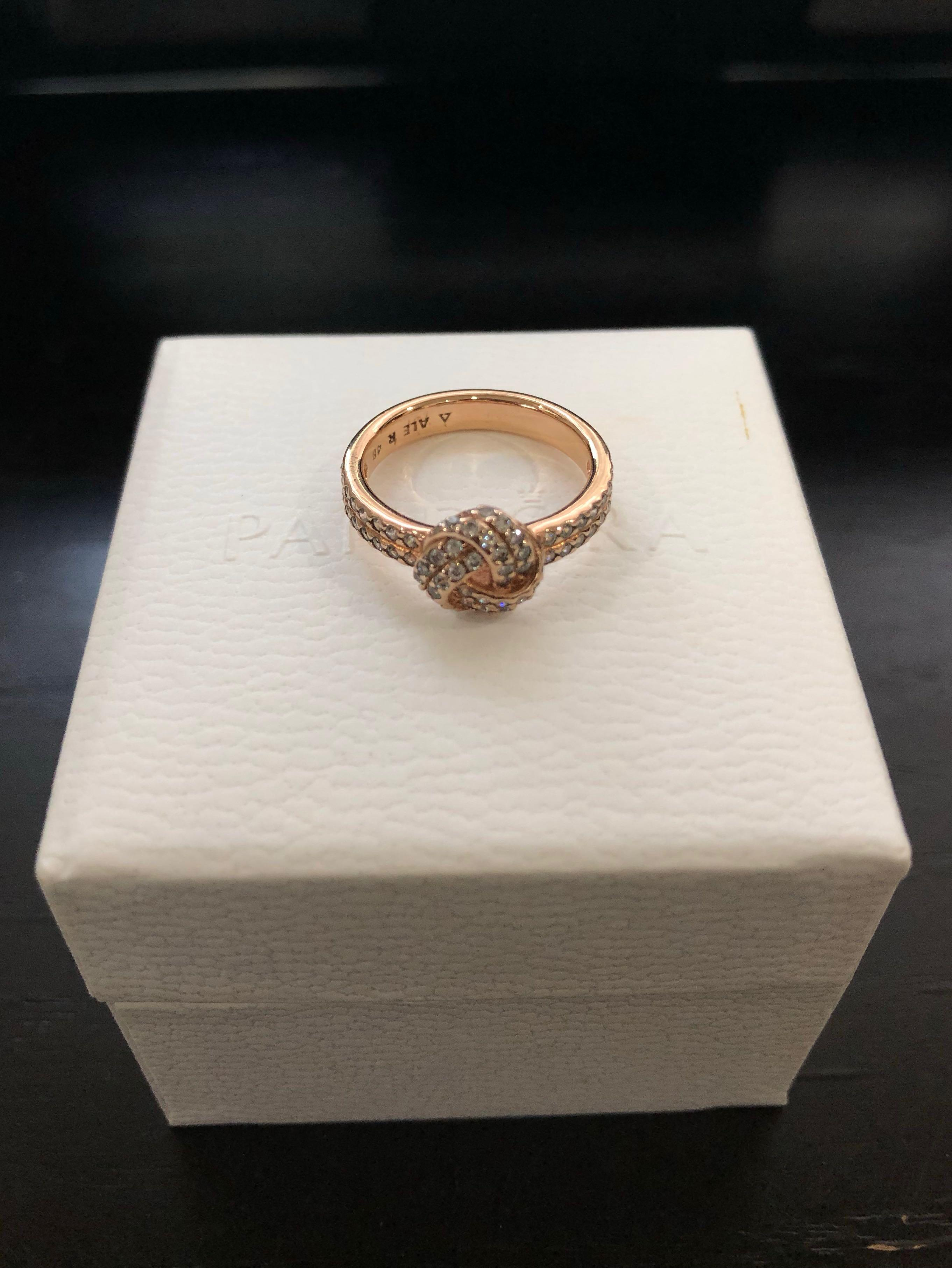 Sparkling Love Knot Ring Pandora Rose Pre Loved Authentic Women S Fashion Jewelry Rings On Carousell