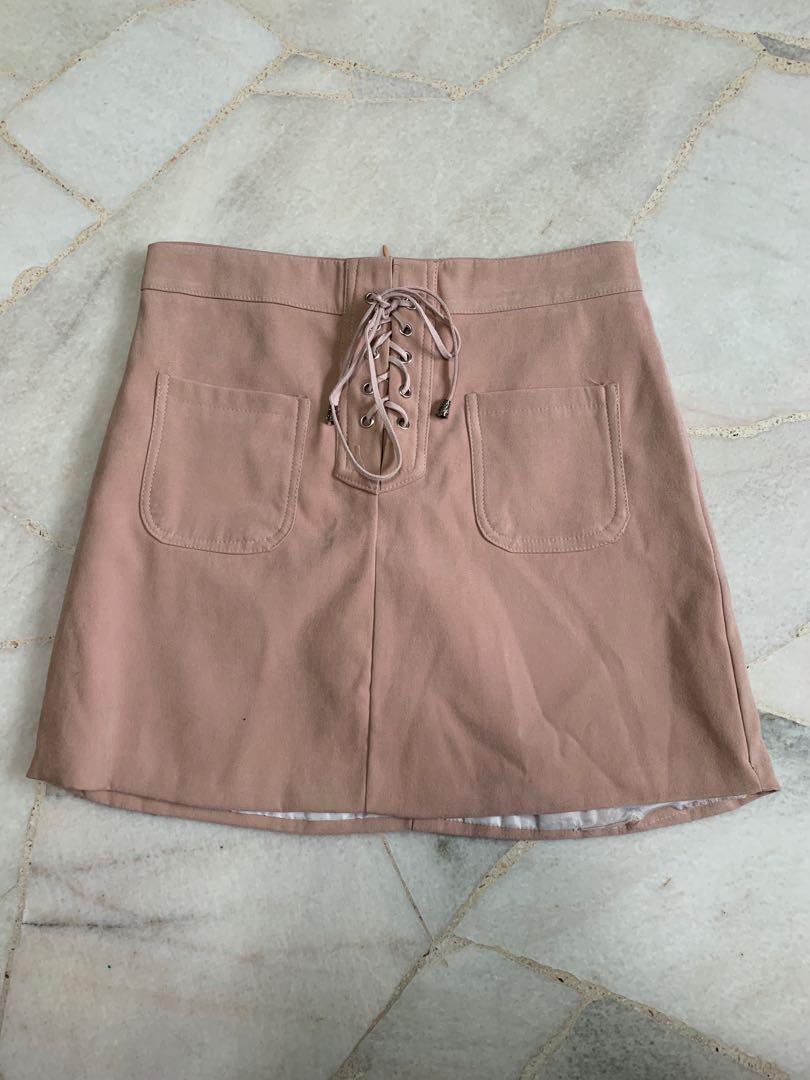 302e3f65e suede shoelace pink a-line skirt, Women's Fashion, Clothes, Dresses ...