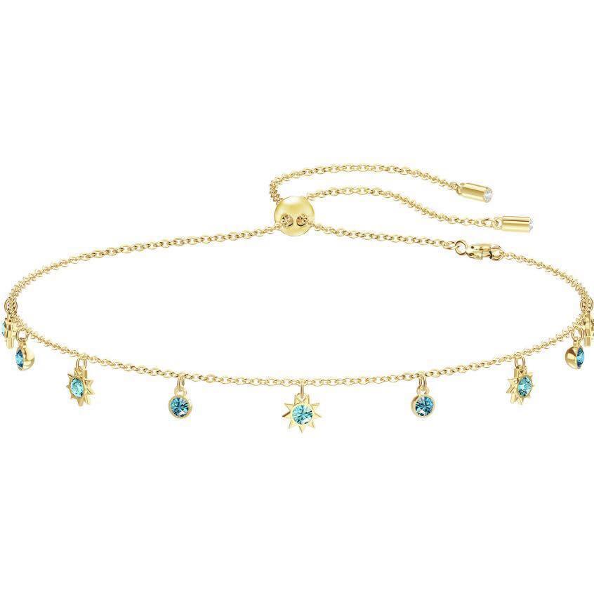 💍Swarovski Crystal Last Summer Choker Necklace Aqua Gold Plating💙
