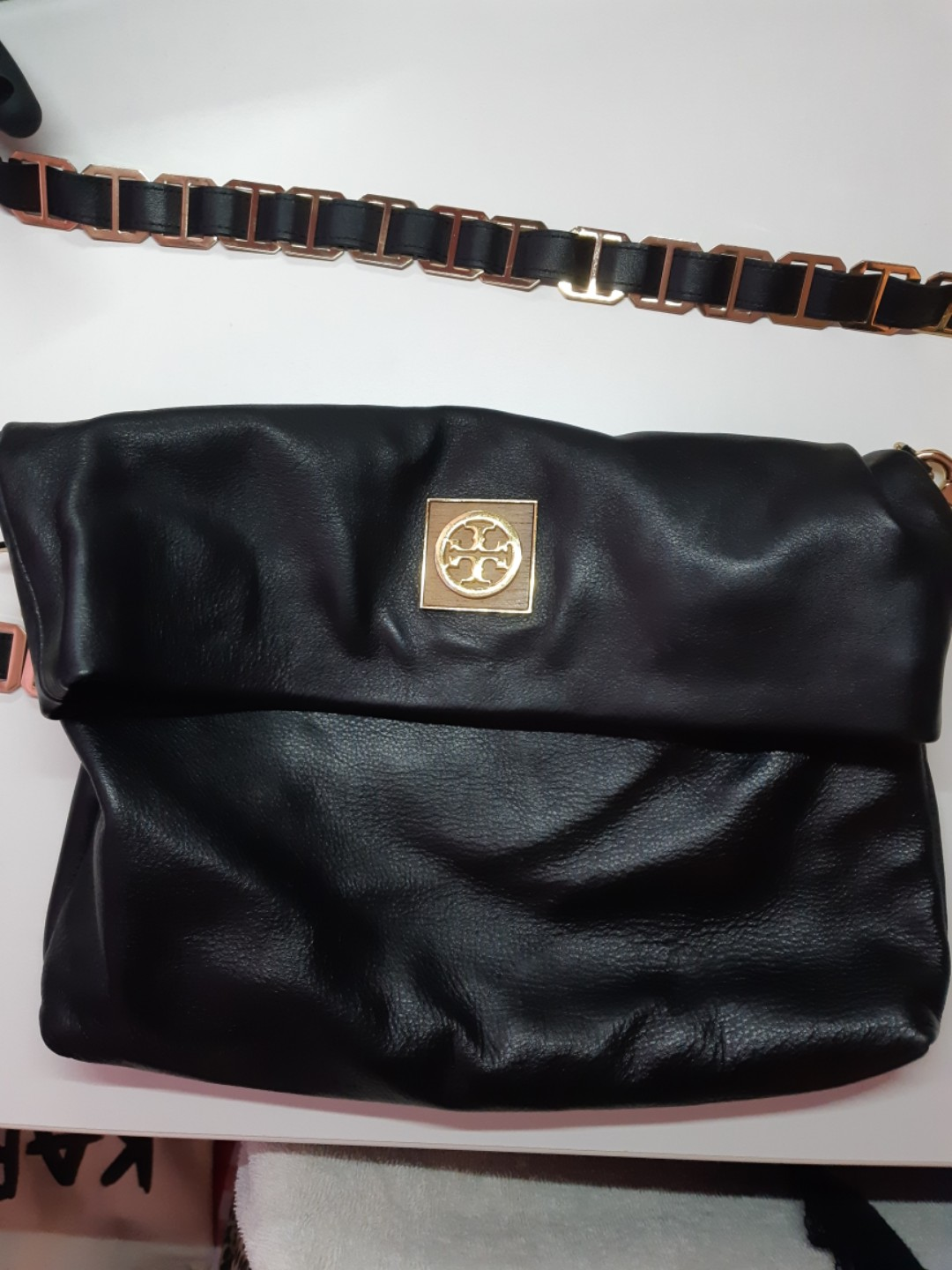 88be9309440 Authentic Tory Burch Leather Flap Crossbody Bag, Black Width 12.75 ...