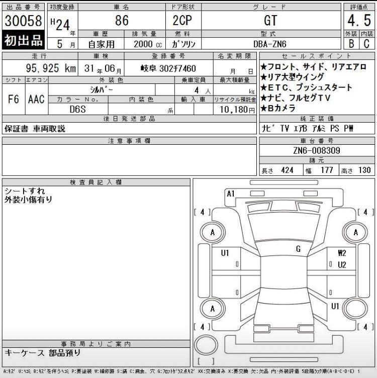 TOYOTA 86 手波4.5分 2012