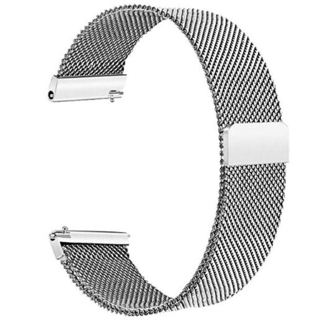 TRUMiRR 18mm Milanese Loop Watchband Mesh Stainless Steel Strap Quick Release Magnetic Wrist Bracelet for LG Watch Style Band, Silver (YA119)