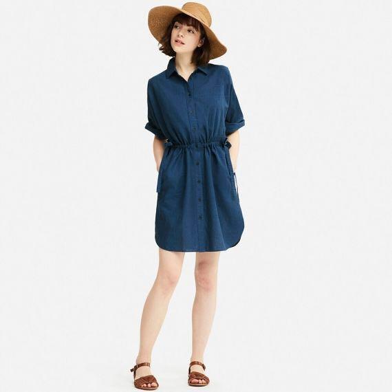 296abfccad2 Uniqlo Linen Blend 3 4 Sleeve Shirt Dress