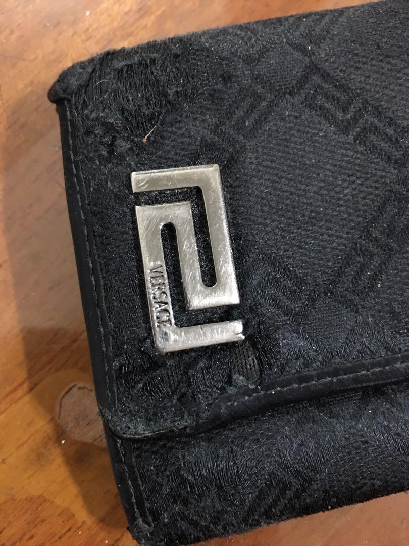 VERSACE真皮棉布織紋名片夾 (老舊二手)