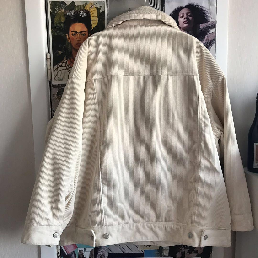 White Corduroy Borg Jacket