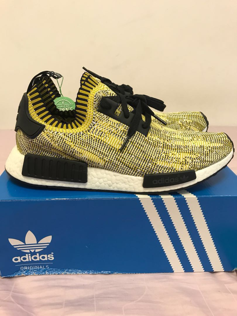 d916e27b4344c WTS BNDS Adidas Originals NMD R1 Primeknit Pk Yellow Gold Camo Glitch US 11  UK 10.5, Men's Fashion, Footwear, Sneakers on Carousell