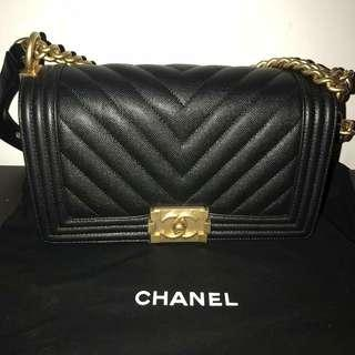 Chanel authentic black caviar leather bag