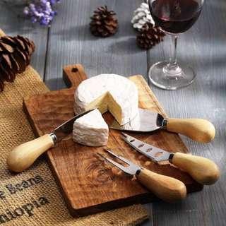 🚚 不銹鋼甜點刀組 烘焙刀具 切刀 水果叉  蛋糕刀 西餐刀 -四件組