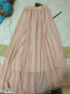 紡紗下身長裙「粉肉色」